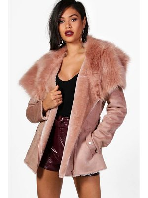 BOOHOO Faye Boutique Faux Fur Collar Belted Jacket