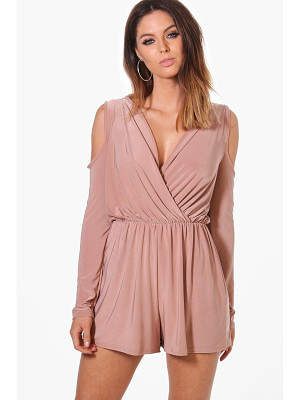 Boohoo Cold Shoulder Slinky Playsuit