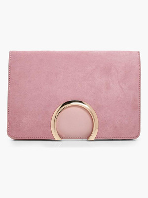 Boohoo Metal Circle Suedette And PU Mix Clutch