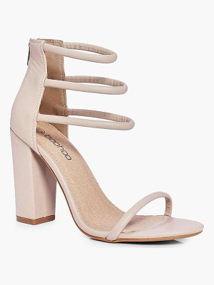 BOOHOO Faye Three Strap Ankle Band Block Heels