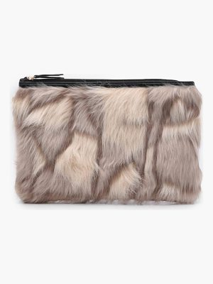 Boohoo Feliciity Multi Faux Fur Clutch