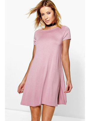 BOOHOO Flo Basic Scoop Neck Cap Sleeve Swing Dress