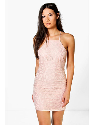 Boohoo Frey All Over Lace Cross Back Bodycon Dress
