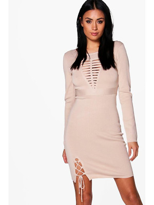 Boohoo Frey Caged Detail Knitted Dress