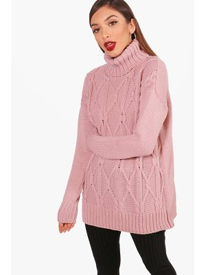 BOOHOO Freya Brushed Cable Knit Oversized Roll Neck