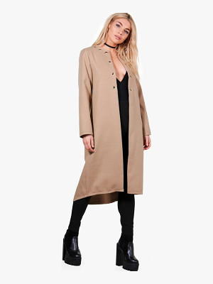 BOOHOO Freya Eyelet Detail Wool Look Coat