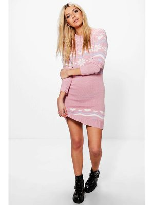 BOOHOO Freya Heart Fairisle Christmas Jumper Dress