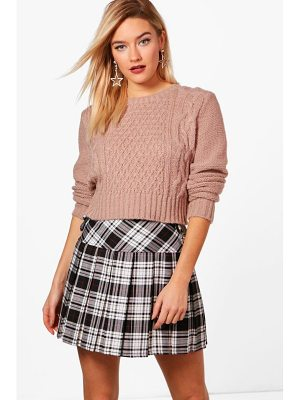 BOOHOO Freya Nep Yarn Cable Crop Jumper