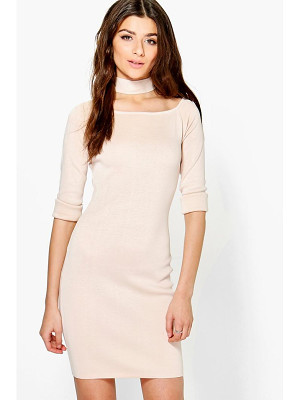 BOOHOO Freyja Choker Knit Dress