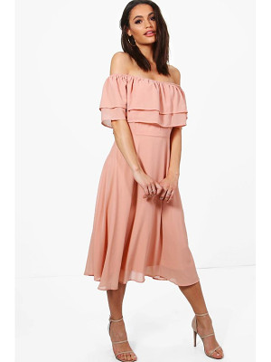 BOOHOO Galores Chiffon Ruffle Midi Skater Dress