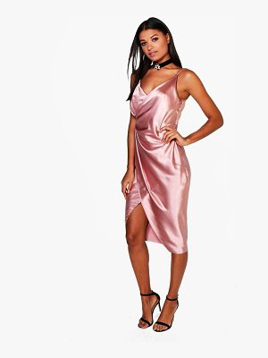 Boohoo Satin Wrap Strappy Midi Dress