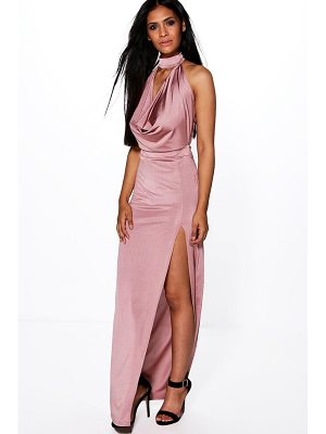 BOOHOO Gemma High Neck Slinky Cowl Maxi Dress