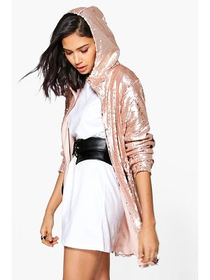 BOOHOO Georgia Boutique Sequin Hooded Parka