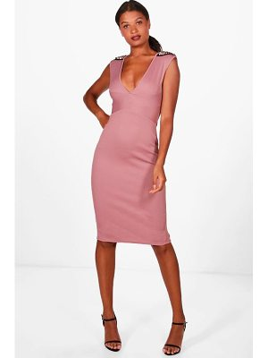 Boohoo Georgia Studded Shoulder Detail Midi Dress