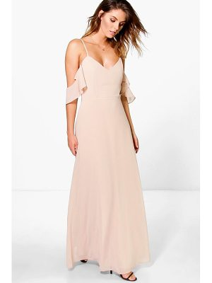 Boohoo Chiffon Strappy Open Shoulder Maxi Dress