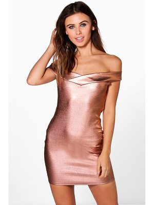 BOOHOO Gia Metallic Off Shoulder Bodycon Dress