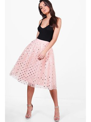 BOOHOO Gigi Metallic Polka Dot Full Tulle Midi Skirt