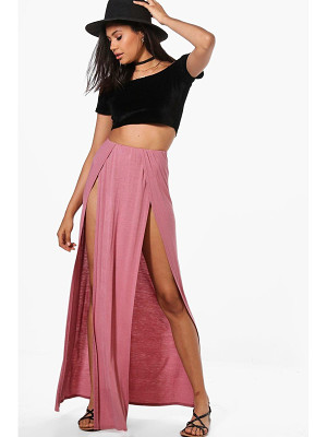 BOOHOO Gisella Plain Double Split Front Maxi Skirt