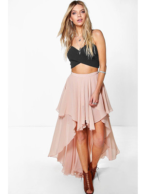 Boohoo Giselle High Low Hem Bohemian Maxi Skirt