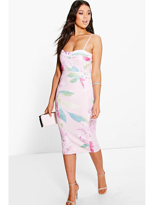 Boohoo Glenda Floral Strappy Sweetheart Midi Dress