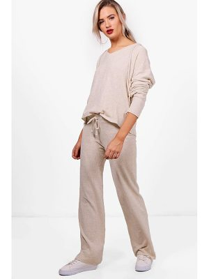 BOOHOO Grace Chenille Wide Leg Hooded Knitted Lounge Set