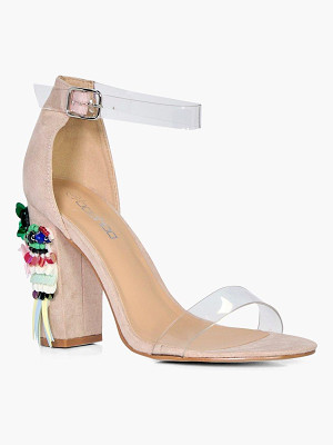 Boohoo Embellished Block Heel Sandals