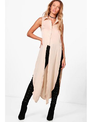 BOOHOO Grace Longline Button Up Shirt