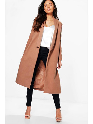 BOOHOO Grace Shawl Collar Wool Coat