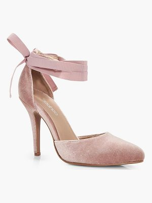 BOOHOO Grace Velvet Ribbon Tie Pointed Court Shoe
