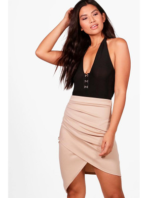 Boohoo Gracie Rouched Side Asymetic Mini Skirt