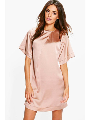 BOOHOO Gracie Satin Cap Sleeve Shift Dress