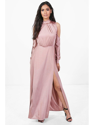 BOOHOO Gracie Slinky High Split Maxi Dress