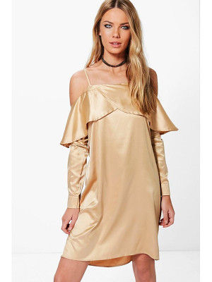 Boohoo Greta Satin Open Shoulder Frill Shift Dress