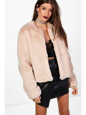 BOOHOO Hailey Boutique Crop Faux Fur Coat