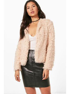BOOHOO Hannah Cropped Shaggy Faux Fur Coat