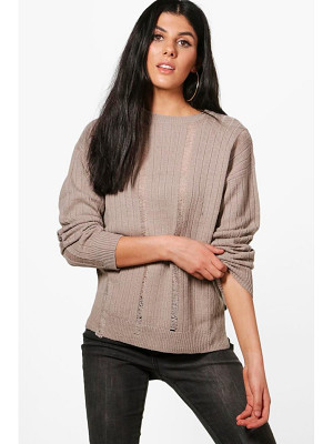 BOOHOO Hannah Distressed Laddered Rib Knit Jumper