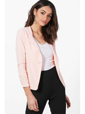 BOOHOO Harriet Gathered Sleeve Button Ponte Blazer