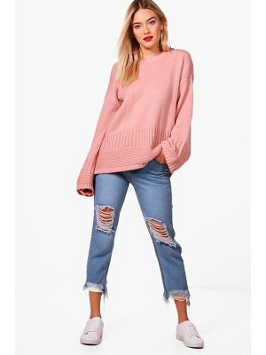 BOOHOO Harriet Rib Edge Wide Sleeve Jumper