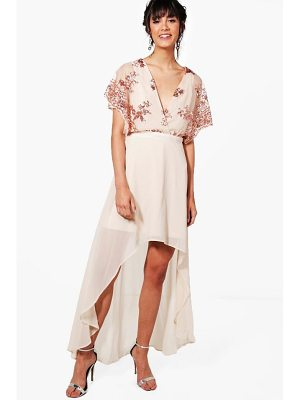 BOOHOO Harriet Sequin Top Dip Hem Maxi Dress