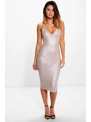 BOOHOO Hayley Ribbed Strappy Midi Dress