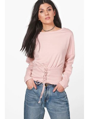 BOOHOO Heather Slouchy Lace Up Corset Sweatshirt