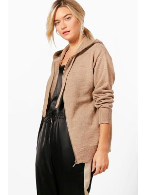 BOOHOO Heather Soft Knit Zip Up Hoody