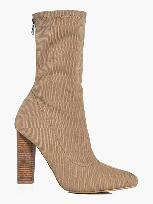 BOOHOO Heidi Cylinder Heel Pointed Sock Boot