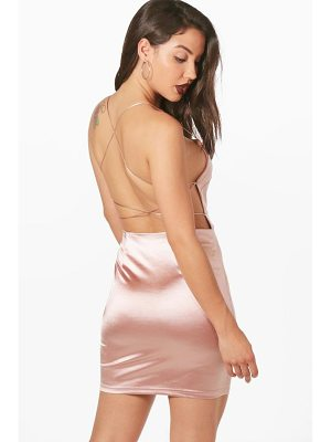 BOOHOO Hilda Satin Strappy Back Bodycon Dress