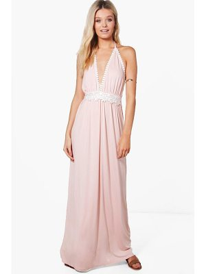 BOOHOO Hollie Crochet Detail Halter Neck Maxi Dress