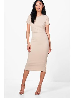 BOOHOO Hollie Fitted Midi Tailored Dress