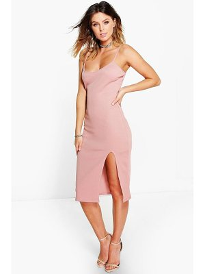 BOOHOO Ida Thigh Split Ribbed Midi Dress
