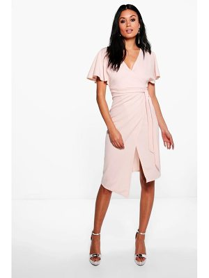 Boohoo Tie Wrap Midi Dress