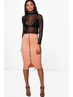 BOOHOO India Zip Front Midi Skirt