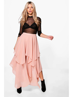 Boohoo Indie Ruffle Hem High Low Chiffon Maxi Skirt